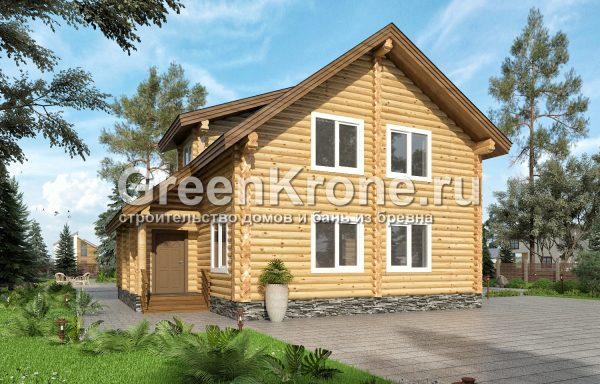 Дом из оцилиндрованного бревна – проект 22