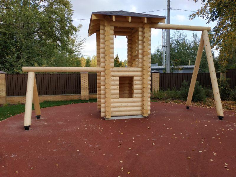 Детская горка и игровая площадка из бревна
